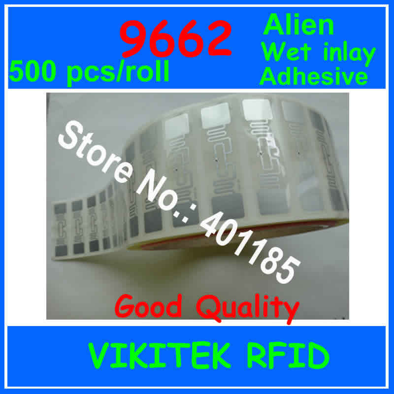 Alien 9662 UHF RFID adhesive wet inlay 500pcs per roll 860-960MHZ Higgs3 915M EPC C1G2 ISO18000-6C can be used to RFID tag label 2017 hot sale forest animals children assembled diy wooden building blocks toys baby toy best gift for children ht2265