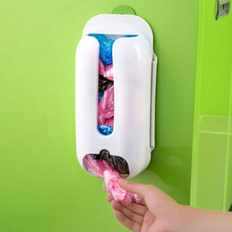 Hot Useful Wall Mount Carrier Bag Storage Box Container Holder Accessory Home Plastic Ba ...