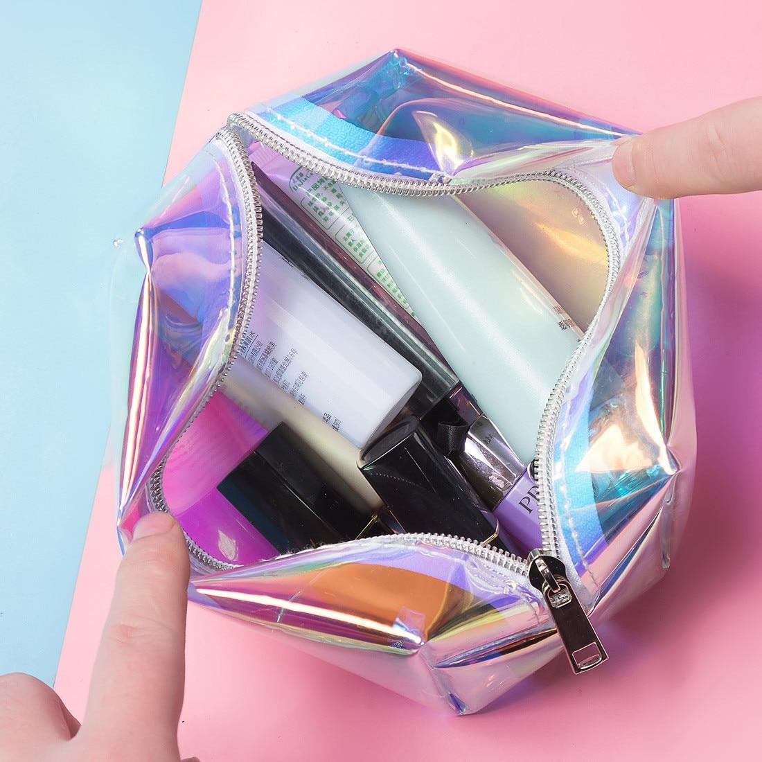 23a19653fcf7 Big Sale] PVC Transparent Beauty Travel Organizer Women Laser Make ...