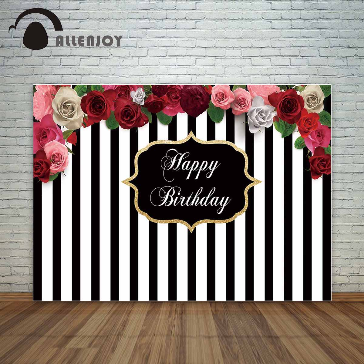 Allenjoy Black and white stripes backdrop with beautiful flowers birthday party custom backdrop photocall for a photo shoot fond стоимость