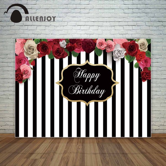 Allenjoy Black and white stripes backdrop with beautiful flowers birthday party custom backdrop photocall for a photo shoot fond