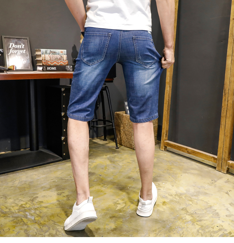 KSTUN Jeans Men Slim Fit Denim Shorts Solid Blue Stretchy Man Jeans Brand 2018 Business Casual Short Jean Pants Cowboys Hombre 15