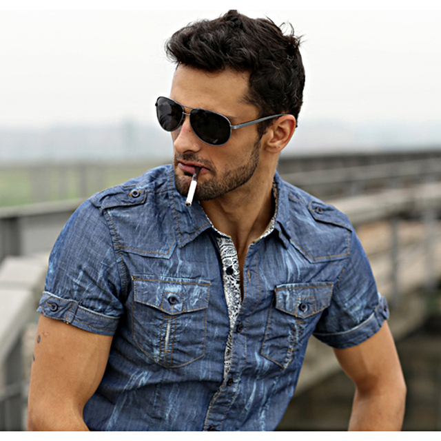 Men's denim shirt . Men's Pigment Dyed Summer Short Sleeve Button ...