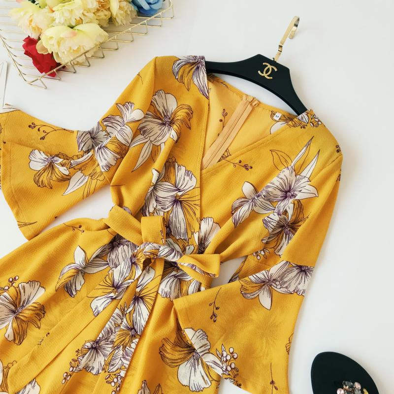 Yellow Red Floral Print Bow Wide Leg Lace Up Yellow Romper Jumpsuit 2