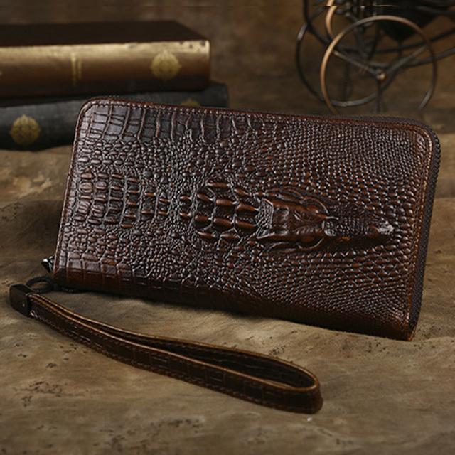 Cocodrilo de la alta calidad cuero genuino nueva moneda bolsillo de la cremallera del diseño largo de la cartera hombres de piel de cocodrilo carteras monedero del embrague del