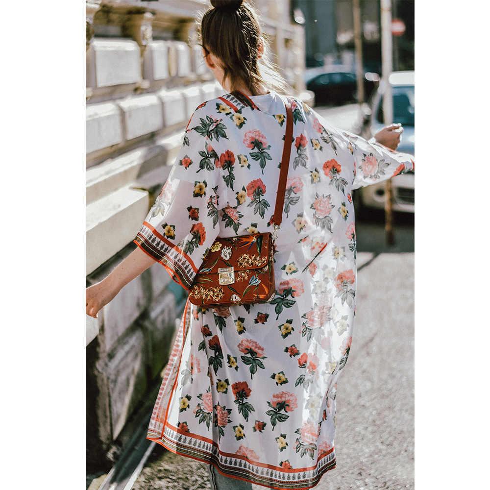 女性夏花柄プリント 3 分袖着物コート水着ブラウスカーディガンシフォンビキニビーチカバーアップトップス