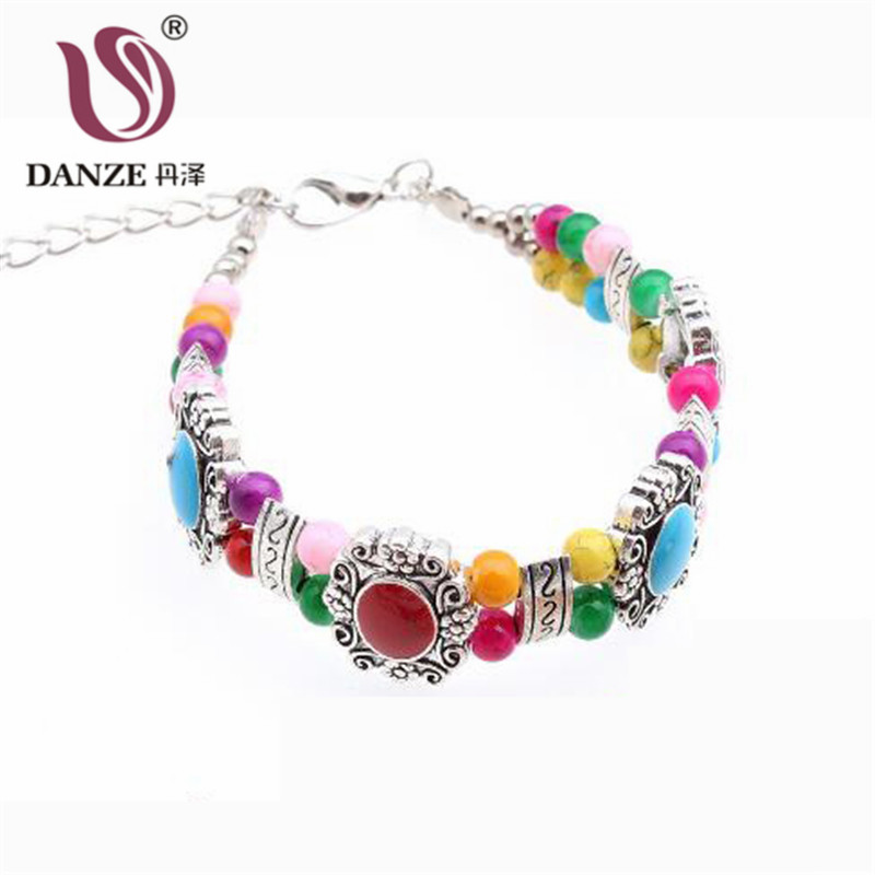 DANZE Ethnic Double Chain Women's Bracelets Bangles Simulated Pearl Geometric Beads Bangle For Girls Female Bohemia Jewelry
