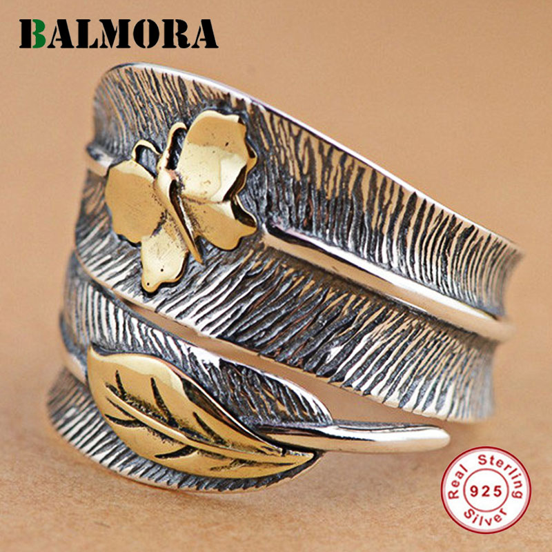 BALMORA 100% Real 925 Sterling Silver Jewelry Butterfly Feather Retro Rings for Women Party Gift Bijoux Thai Silver Ring SY21477