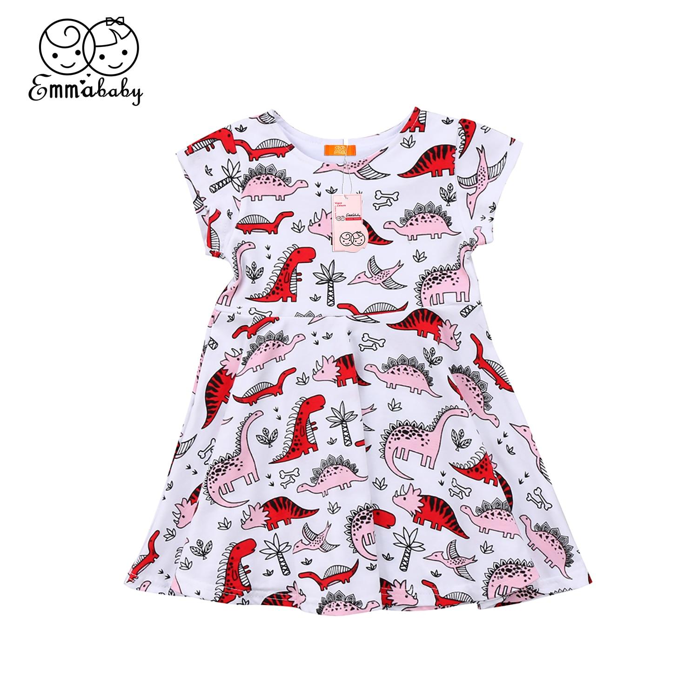 Summer new cute Dinosaur print Dresses Toddler Kids Baby Girl short