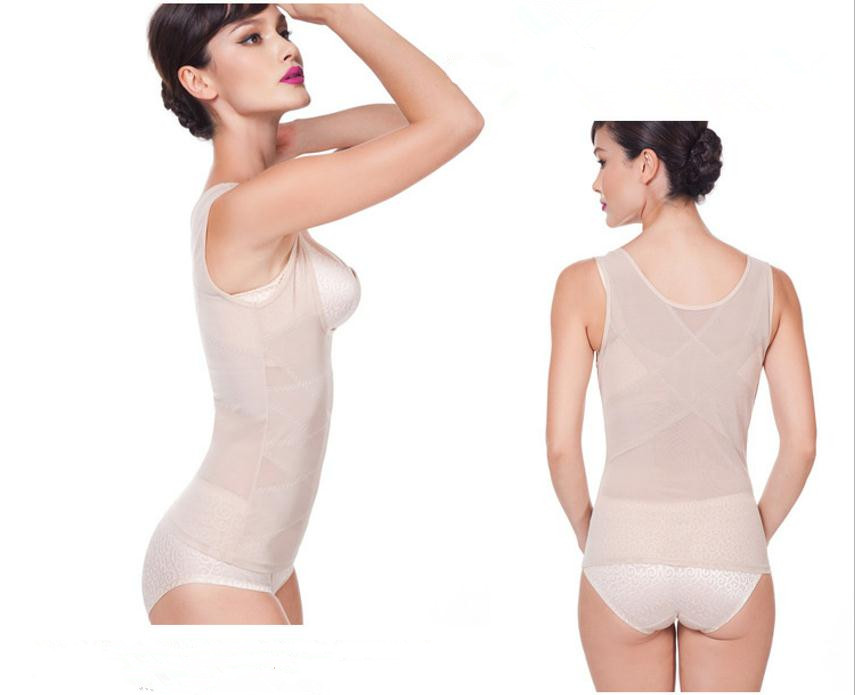 Sculpting Vest Women abdomen Body Corset Net Yarn Skinny Slimming Strimmer Cross Belly Fat Contro Body Shaper Femal Underwear (8)
