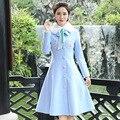 Новая Мода Шерсти Пальто Женщин Съемный Меховой Воротник Тонкий Шерсть Светло-Синий Длинный Плащ Casacos Femininos Пальто Шерстяное Пончо
