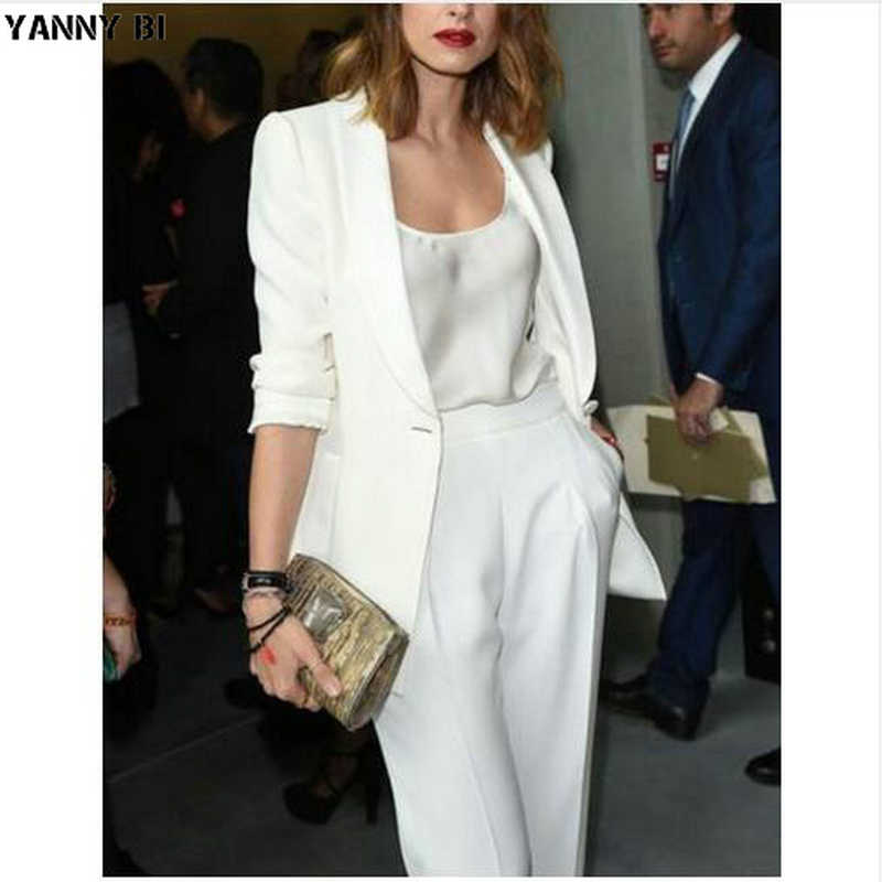 White Women Ladies Business Office Tuxedos Formal Fashion Work Wear Suit Bespoke Women Pant Suits