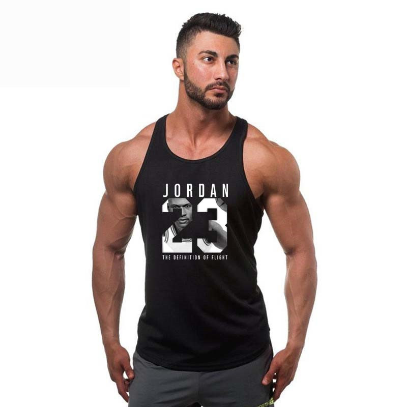 Jordan 23 Brand Clothing Fitness   Tank     Top   Men Stringer Gold Bodybuilding Muscle Shirt Workout Vest gyms Undershirt Plus Size