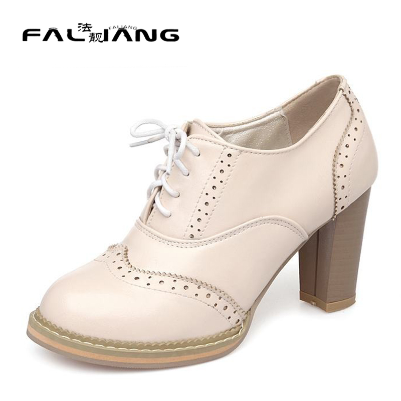 ФОТО Big size 32-43 Hot sale women pumps lace up thick high heels round toe platform spring autumn dress shoes woman pink white AA543