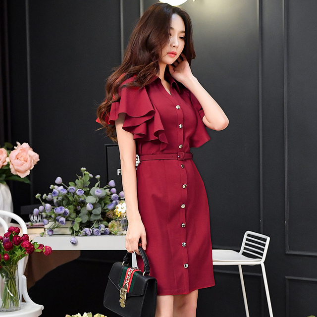 original 2018 brand vestidos de fiesta ladies belt waisted butterfly short sleeve elegant OL shirt party dresses women wholesale