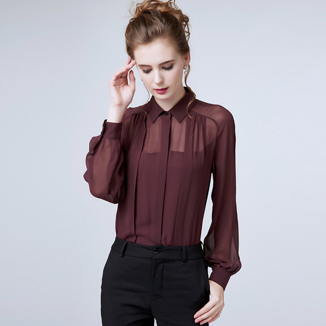 100% Double Layer Silk Blouse Women Simple Design Solid Long Sleeves 3  Colors Office Work