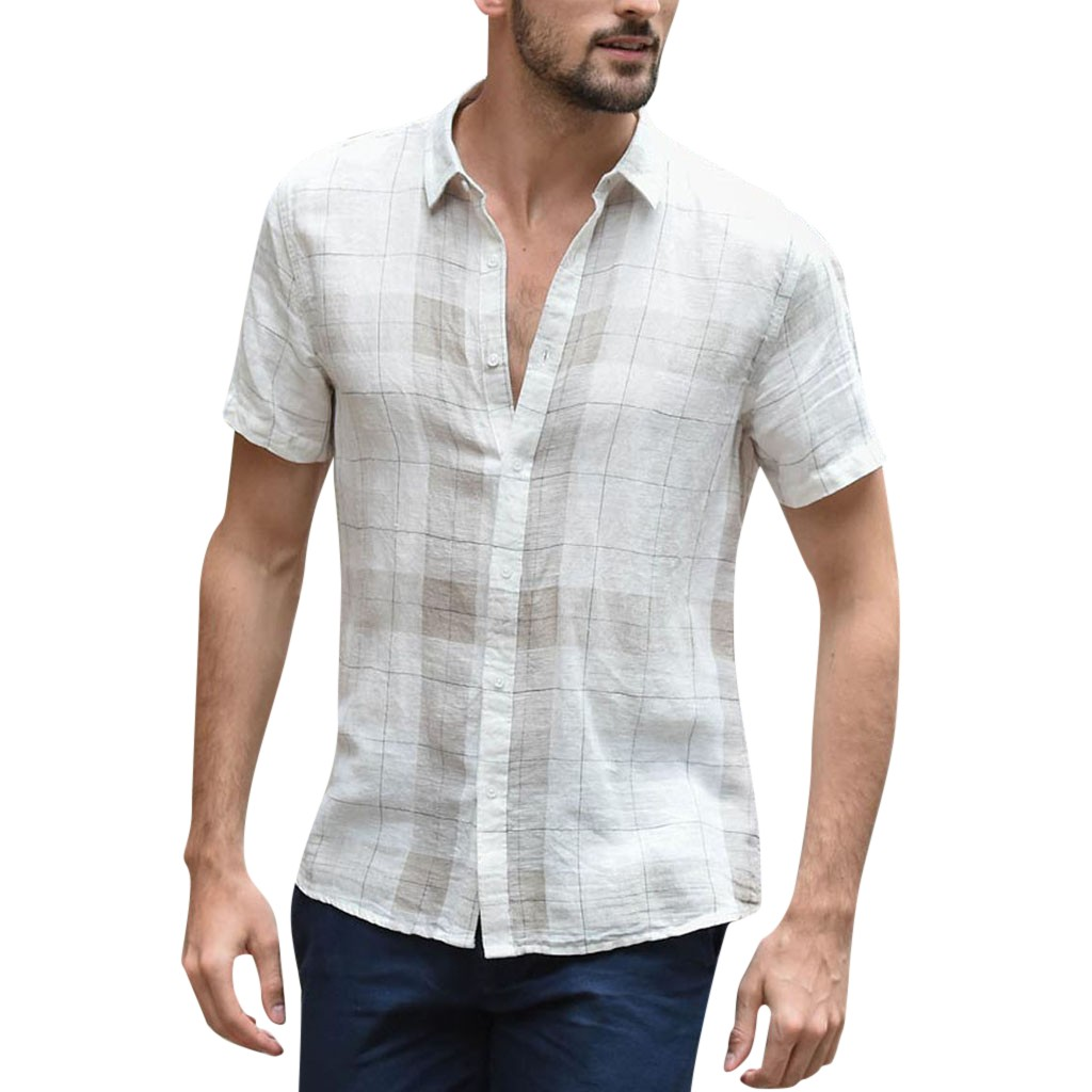 Summer Men's Baggy Cotton Linen Plaid Short Sleeve Button Retro Turn-down Collar Shirts Hawaiian Camisa Masculina Camisas Hombre