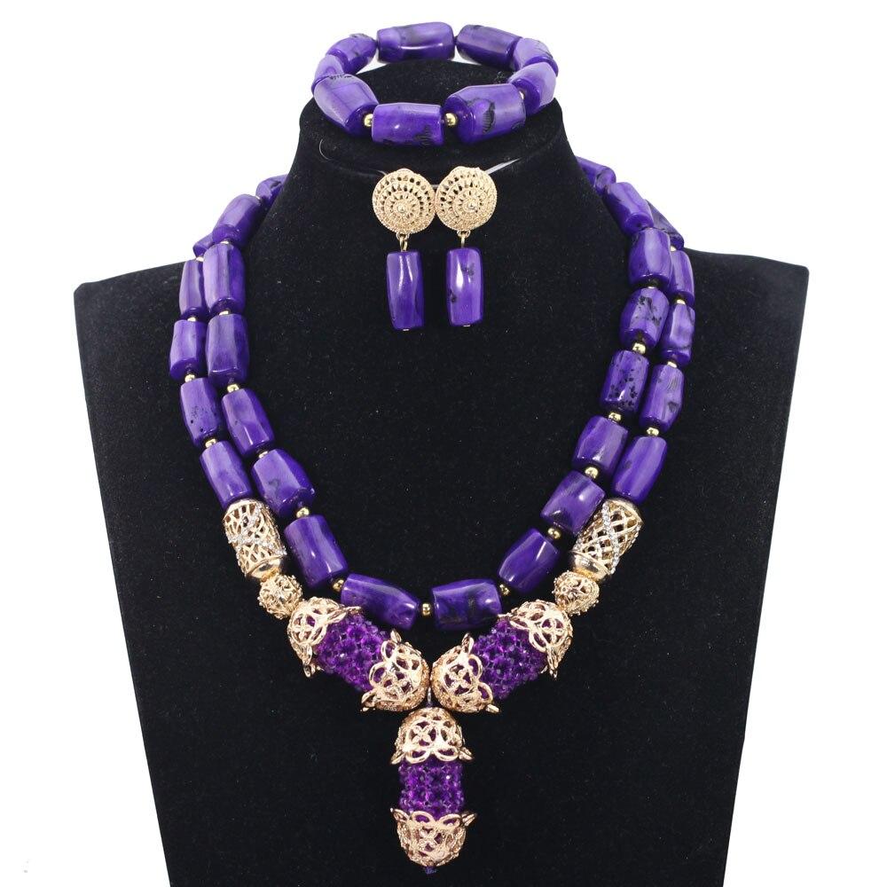 Splendides ensembles de bijoux de corail africain violet et or perles africaines traditionnelles ensemble de bijoux de fête de mariage nouveau CNR828