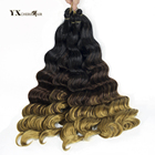 (1-12Packs/Lot) Women's Wigs Brazilian Deep Wave Hair Bundles Ombre Synthetic Braiding Hair 18inch Multi Color Crochet Braids
