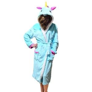 Image 4 - Unisex Animal Sleepwear Robe Sleep Cute Nightgown unicorn Stich night robe Bathrobe Winter Homewear Dressing Gowns For Women Men
