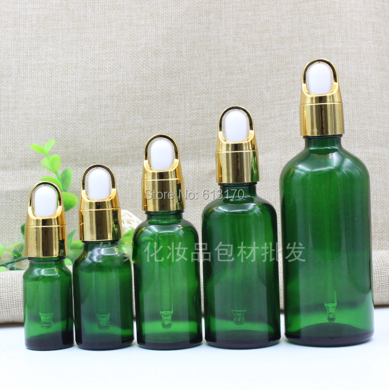 5ml,10ml,15ml,20ml,30ml,50ml,100ml Green Glass bottles,Basket Dropper,Empty Essential Oil Glass Vials Gold Collar White rubber 10ml high grade tower type empty essential oil bottles gold plated crystal aromatherapy bottles page 2