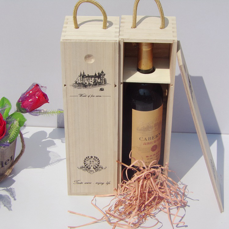 Enkele Rode Wijn Verpakking Dozen Houten Wijnkist Voor Bar Restaurant Hotel