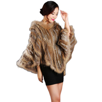 NEW WOMENS AUTUMN WINTER FASHION GENUINE KNIT RABBIT FUR JACKET COAT OUTWEAR HOODED LADIES REAL KNITTED FUR PONCHO CAPES OUTWEAR