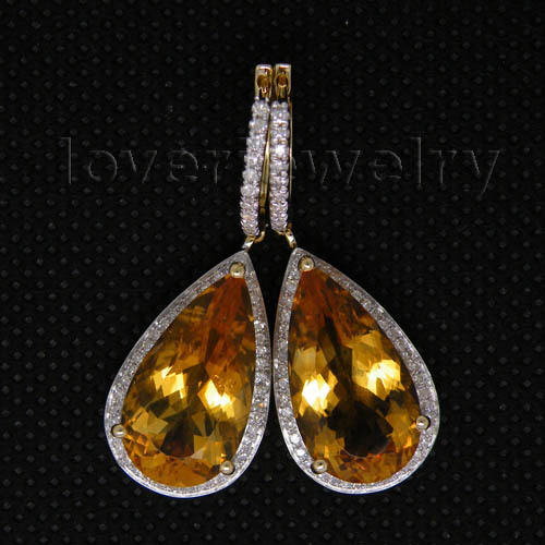 Best Gift 14Kt Yellow Gold Diamond Yellow Citrine Earrings 585 Pure Gold Pear 10x18mm For Sale