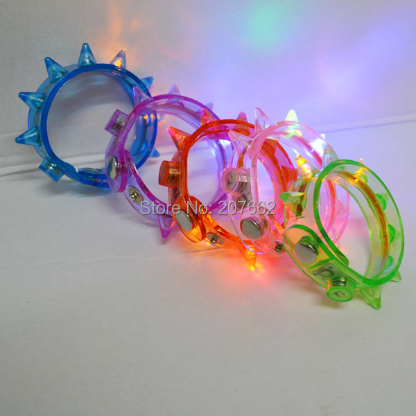 Free shipping 360pcs lot Light Up Spike Bracelets Wristbands LED Flashing Glow Blinking Spikey Rave in Glow Party Supplies from Home Garden