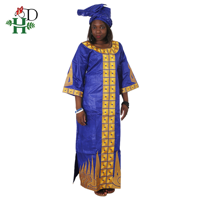 2019 African Cotton Dress  For Women Bazin Riche Dress Head Wraps African African Custom Clothes Dashiki