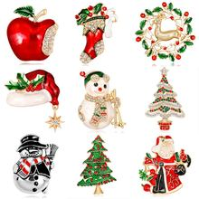 New Kawaii Christmas Enamel Brooch Tree Nice Red Shoe Boot Bell Deer Snowman Crystal Pin For Women Party Christmas Gift Pendant(China)