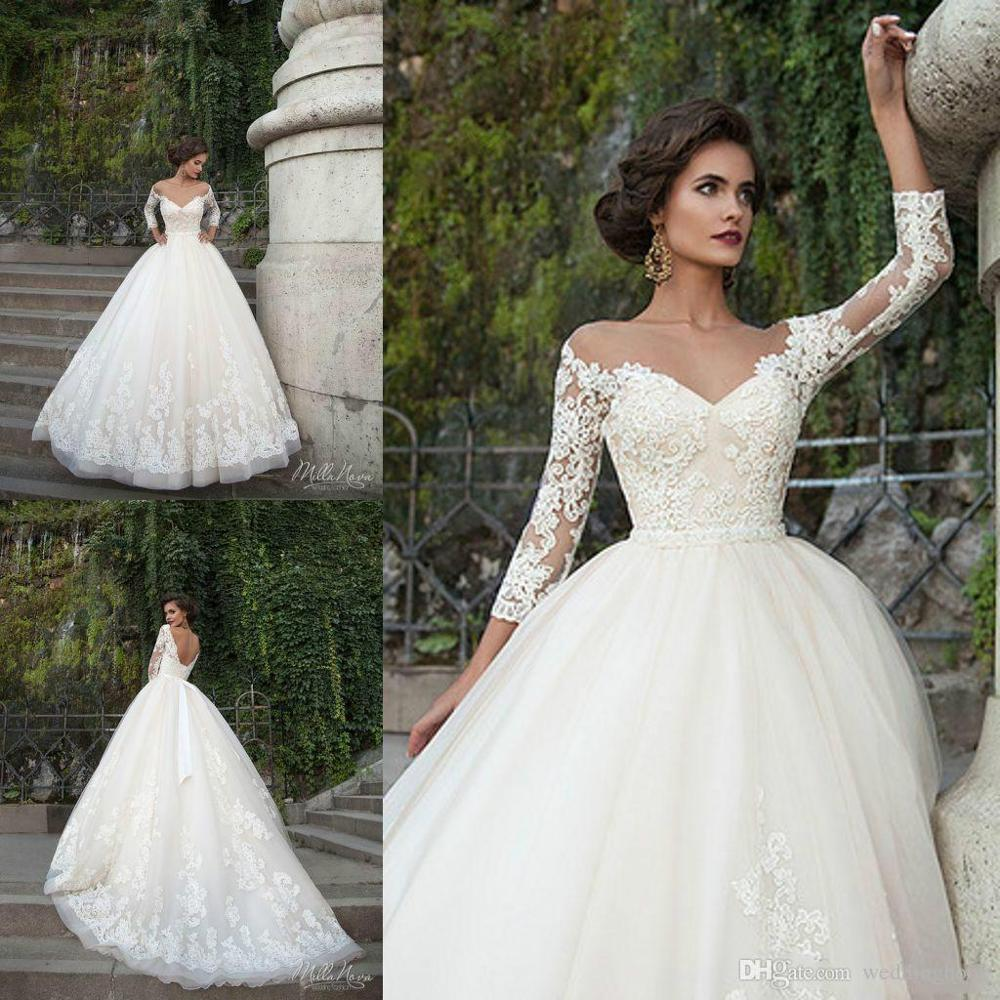 sexy milla nova wedding dresses 3 4 sleeves sheer illusion ribbon beads chapel train church 2017. Black Bedroom Furniture Sets. Home Design Ideas