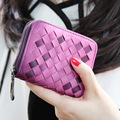 2016 New Fashion High-quality Leather Wallet Women Woven Pattern Artificial Leather wallet Short Wallets Candy Colors Purse