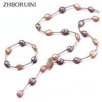 ZHBORUINI Fashion Pearl Jewelry Long Pearl Necklace Baroque Natural Freshwater Pearl Jewelry Women Statement Necklace Friend