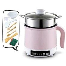DMWD, 220 В, многофункциональный Электрический горшок для приготовления пищи, варки на пару/кипячения/тушения, мини-жаровня, антипригарная яйцеварка для 1-2 человек