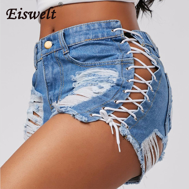 be8481092e Sexy Summer Women Denim Shorts 2018 New Black Blue High Waist Ripped Short  Jeans Femme Tassel