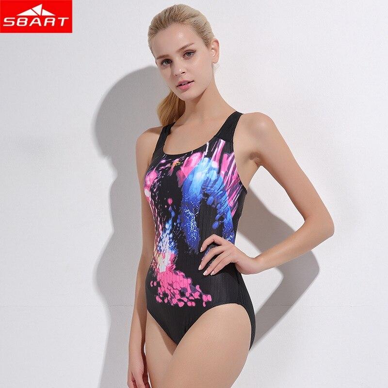 SBART Women Top Sexy Scoop Female Elastic Swimsuit one piece swimwear water sports equipment backless monokini bathing swim suit
