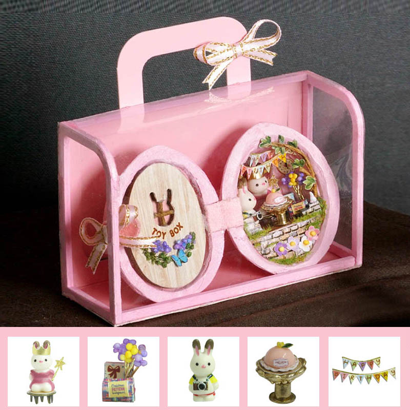 3D Doll House Miniaturas Furniture Dollhouse DIY Wooden Diary Dollhouse Toys For Children Birthday Gifts Casa Seed World R-001 image