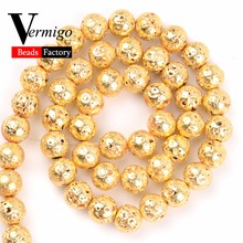 Natural Stone Beads Gold Volcanic Lava Minerals Loose For Jewelry Making 4 6 8 10mm Diy Bracelet Accessories Perles