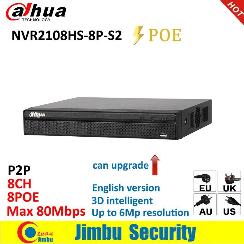 Dahua NVR network video recorder NVR2108HS-8P-S2 8CH POE Max 80 Mbps até resolução 6Mp 1U Lite Rede Gravador DVR atualização