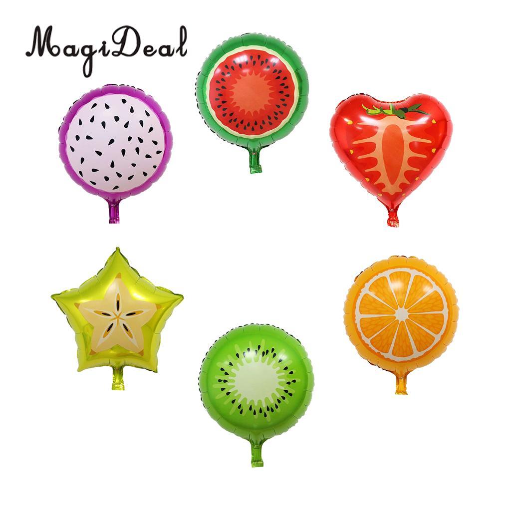 6x Tutti Fruit Foil Balloons Strawberry Watermelon Orange Carambola Pitaya Balloon Tropical Hawaiian Luau Party Decor