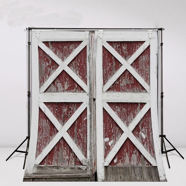 Old Red And White Vintage Rustic Barn Door Backdrop Vinyl Cloth High
