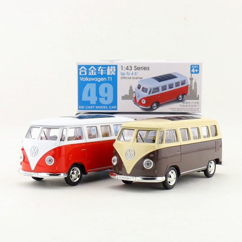 Металлическая игрушка для литья под давлением, 1:38 весы, Volkswagen Type 2 T1, для автобусов, с обратной связью, образовательная коллекция, подарок для...