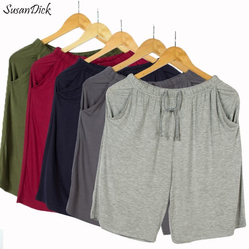 SusanDick New Summer Autumn Home Men Sleep Shorts Pants Soft Modal Casual Mens Pajama Shorts Plus Size Man Leggings Transparent