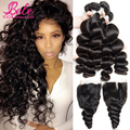 Peruvian Virgin Hair Loose Wave With Closure, 7a Bele Peruvian Loose Wave 3 Bundles Human Hair Weave Lace Closure with Bundles