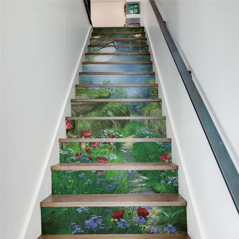 €36.26 25% de réduction|13 pièces/ensemble créatif bricolage 3D escaliers  autocollants magique forêt motif pour maison escaliers décoration escalier  ...