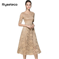 European 2017 Summer Fall Women S Cutout Long Floral Lace Dresses Femme Foral Casual Clothing Sexy