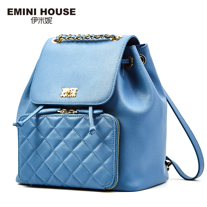 EMINI HOUSE Fashion Diamond Lattice Backpack Split Leather Chain Strap Backpack Women Travel Bag School Bags For Teenagers серьги fashion house даниэлла цвет серебряный белый