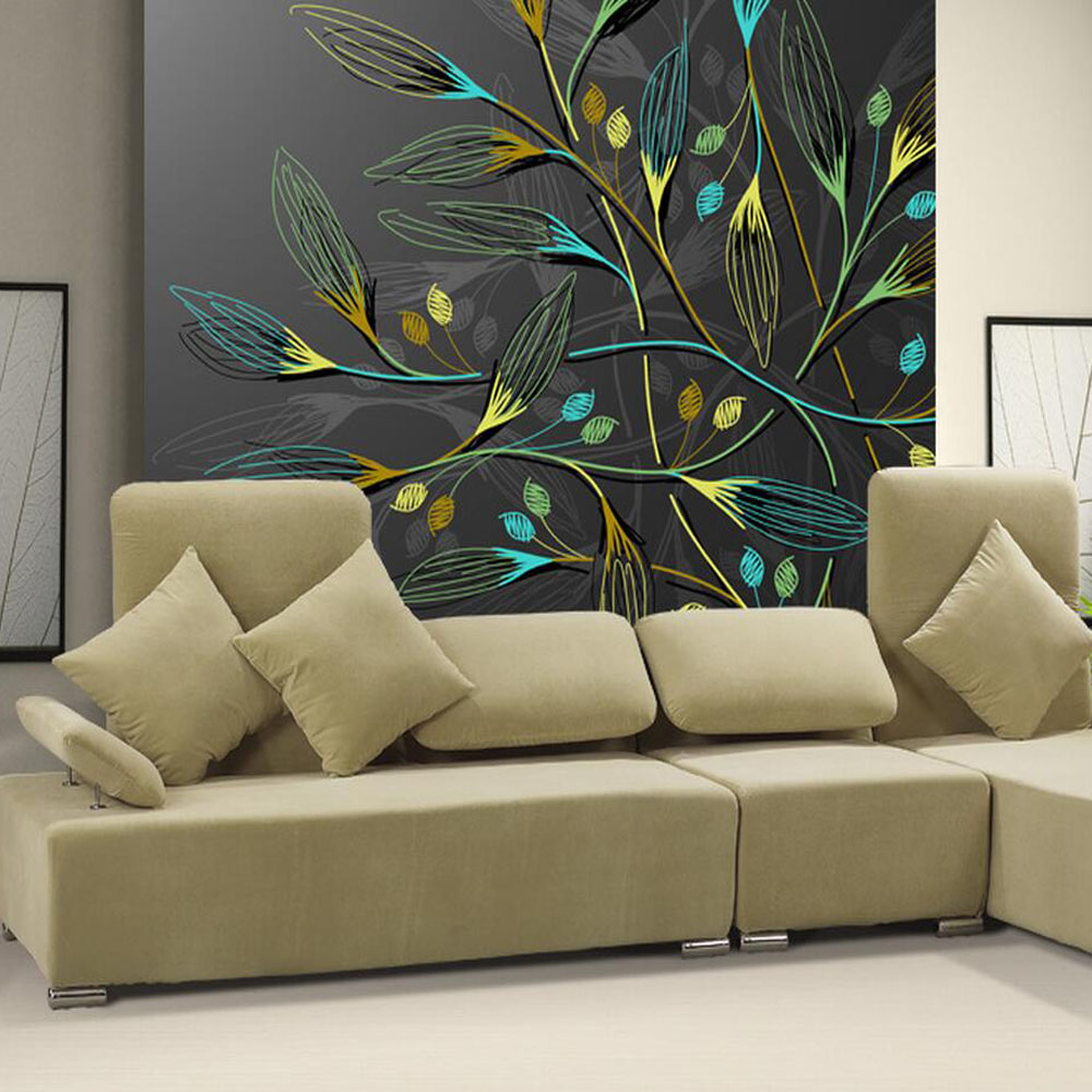 3d abstract wall murals dark leaves hd photo wallpaper for for Black wallpaper for bedroom walls