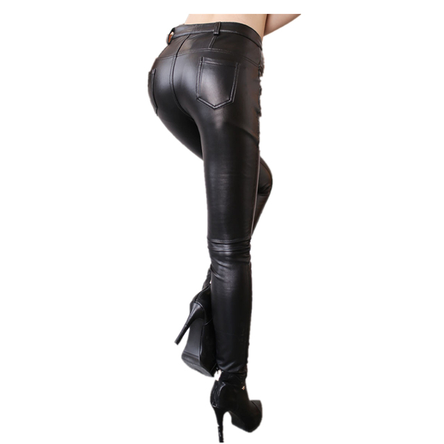 Ladies Slim Stretch Legging winter Pu leather pants Womans high waist Thick warm breasted fashion Lager size Women Trousers